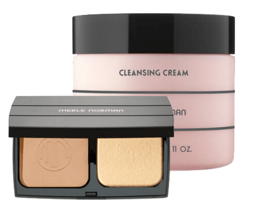 Merle Norman Bronzer and Foundation product open in front of Cleansing cream product