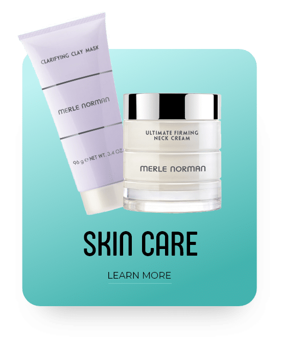 Merle Norman Clarifying Clay Mask and Ultimate Firming Neck cream product, skin care line, white and teal gradient square