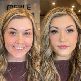 Close up before and after photo of woman with full make up
