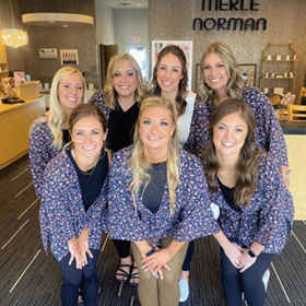 Bridal party in Merle Norman lobby area, make up and special occasion services